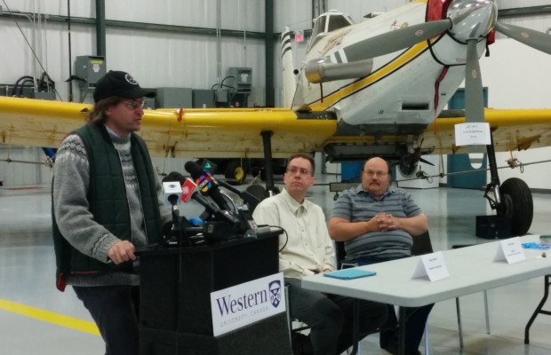 Western University meteor curator Phil McCausland speaks to the media Friday about a possible meteorite fall in St. Thomas. Western's Peter Brown and NASA's Bill Cooke sit to his left.