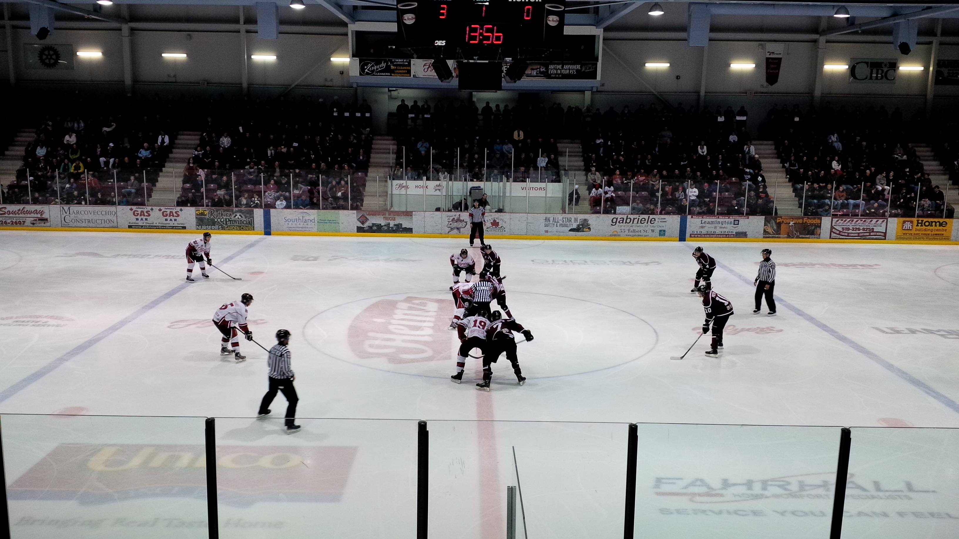 The Leamington Flyers host the Chatham Maroons in Game 3 of their GOJHL West Final on March 30, 2014. (Photo by Ricardo Veneza)