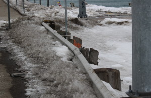 The guardrail at Riverside Dr. W. in Windsor on March 9, 2014. (Ricardo Veneza)