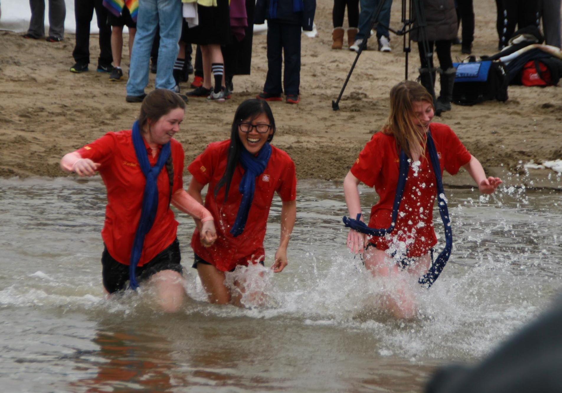 Around 150 dippers braved the cold water at Cedar Island Beach in Kingsville for the 14th annual Polar Bear Dip, March 22, 2014. (Photo courtesy of Aaron Gingerich)