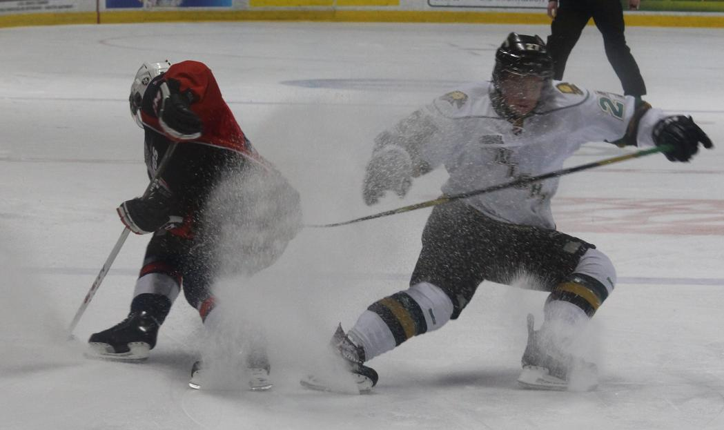 The Windsor Spitfires and London Knights clash in a first-round playoff game, March 27, 2014.