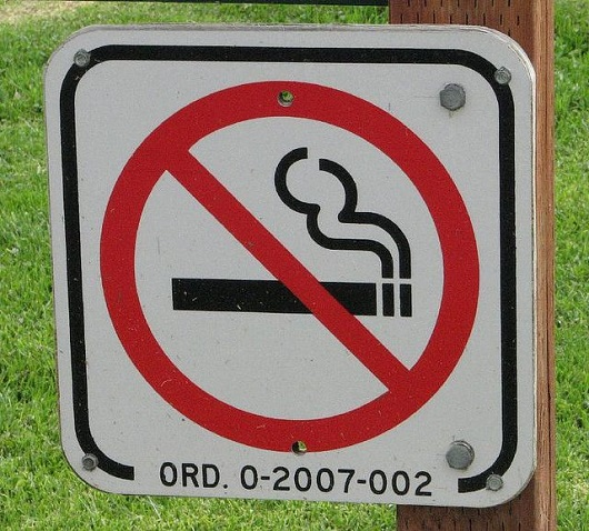 Outdoor No Smoking sign.