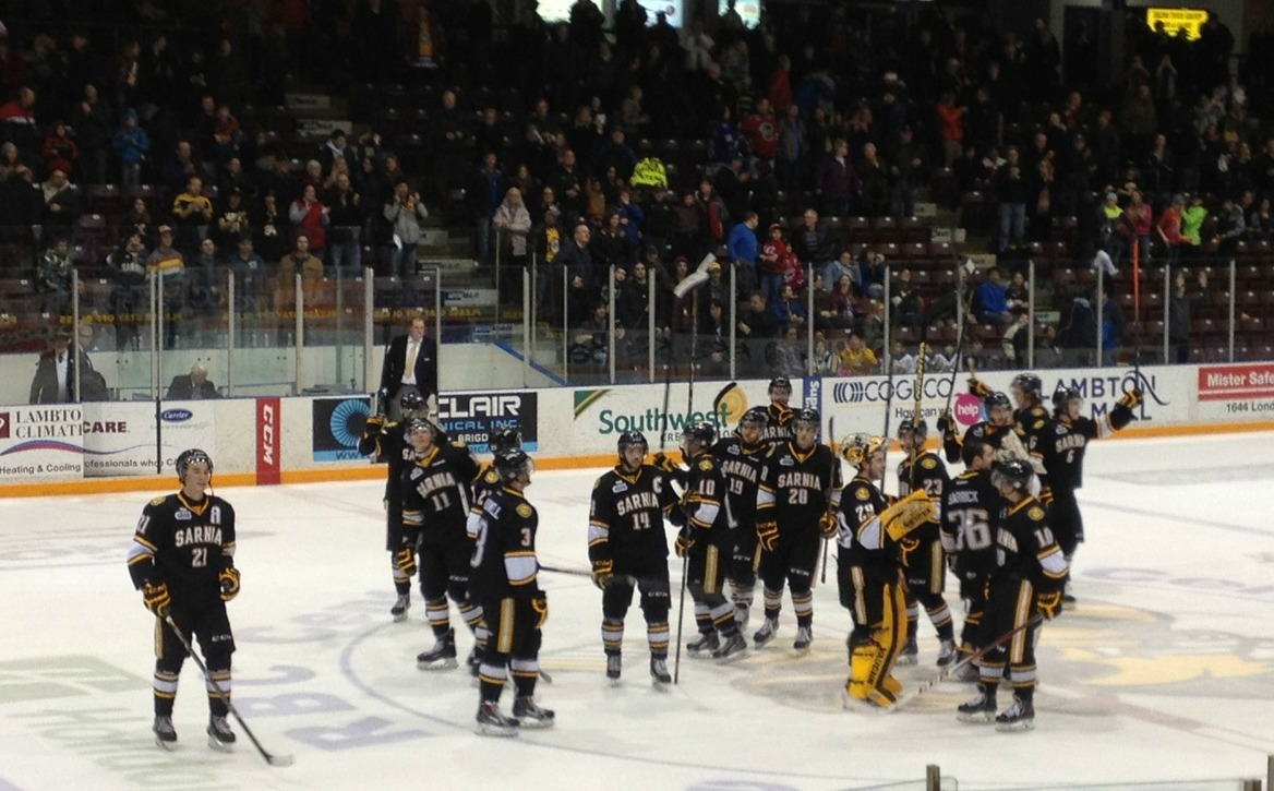 The Sarnia Sting salutes the fans after winning its final home game Mar. 13, 2014