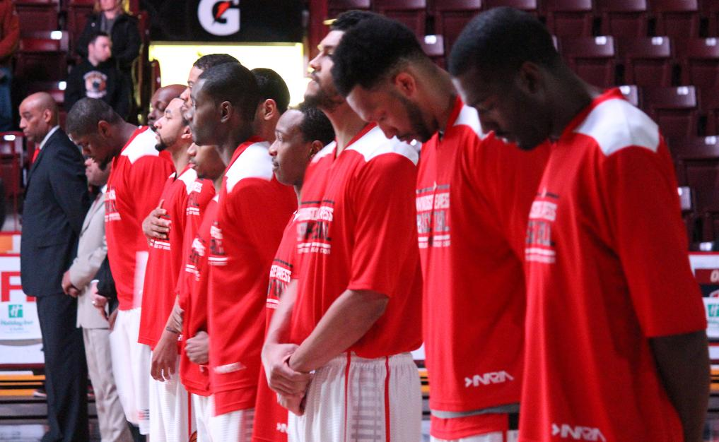 The Windsor Express line up during the Canadian national anthem, March 4, 2014.