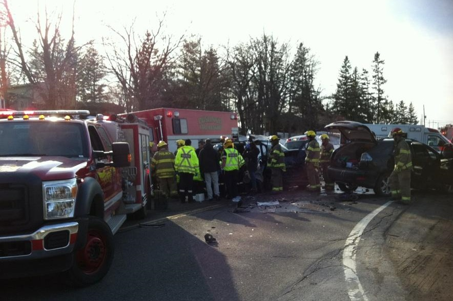 Emergency crews extricate an injured occupant after a two-vehicle crash on Hwy. 6 in Puslinch Township, March 21, 2014. (Photo courtesy of Melissa Raftis/CHCH News)