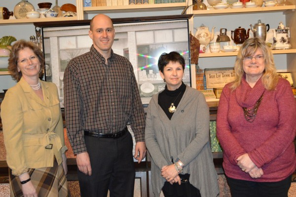 Funding for the Bruce County Museum & Cultural Centre Left-to-right:  Kelley Coulter (CAO, County of Bruce), Ben Lobb (MP, Huron-Bruce), Cathy McGirr (Acting Curator, Bruce County Museum & Cultural Centre) & Joan Chandler (Artistic Director, Sheatre).  Photo by Jordan MacKinnon.