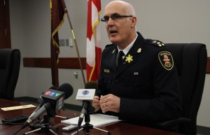Windsor Police Chief Al Frederick speaks to the media at Windsor Police Service headquarters, April 7, 2014.
