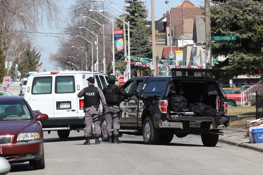 Windsor Police Emergency Services Unit in a standoff on Pierre St. April 2, 2014