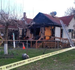 Windsor fire crews attend a home on Windsor Ave. after it caught fire on April 23, 2014. (Photo by Ricardo Veneza)
