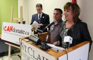 Nancy Campana and her husband Rob join Windsor West NDP MP Brian Masse in raising awareness for the iCANdonate campaign. April 11, 2014.
