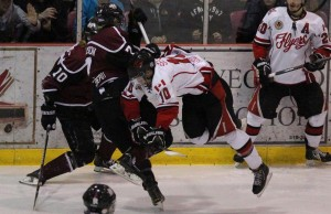 The Leamington Flyers battle the Chatham Maroons in game five of the GOJHL Western Conference Finals. April 3, 2014.