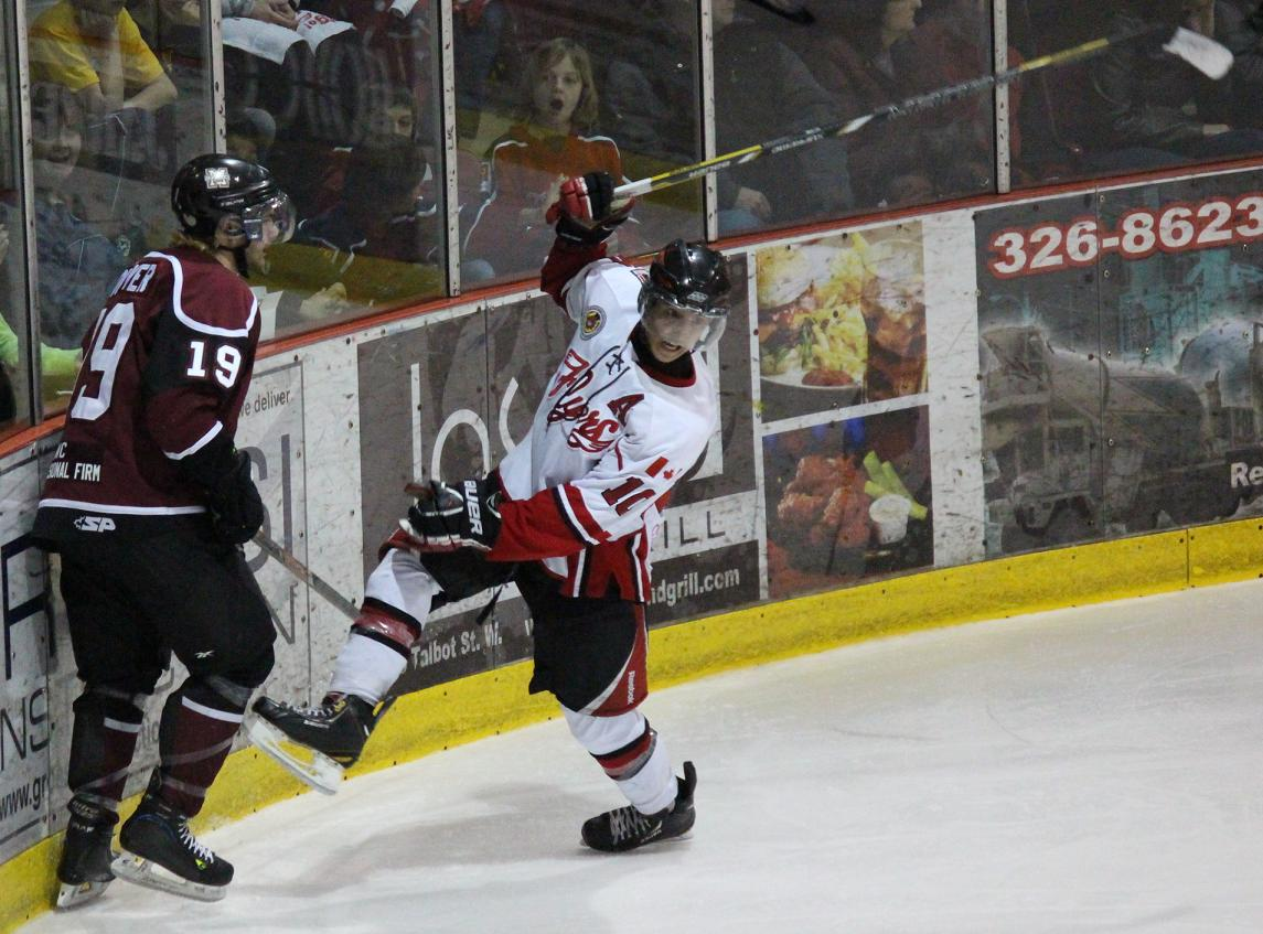 The Leamington Flyers battle the Chatham Maroons in game five of the GOJHL Western Conference Finals. April 3, 2014. (photo by Mike Vlasveld)