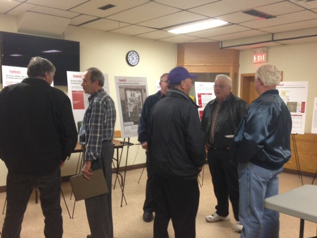 Jim Stenton and neighbours at Clean Harbors open house at Brigden Fire Hall. April 10, 2014. (Photo by Chelsea Vella)