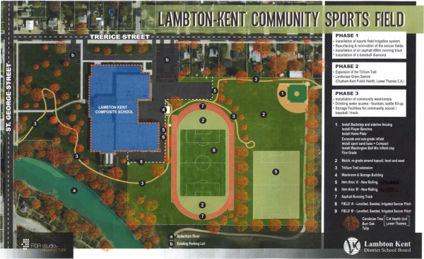 Layout for proposed sports field Apr. 28 2014 (Photo courtesy of chatham-kent.ca)