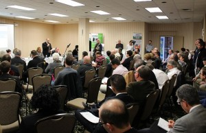 DWBIA Chair Larry Horowitz addresses business owners, municipal politicians and Enwin executives at a hydro forum, held at the Holiday Inn on Ouellette Ave. in Windsor. April 10, 2014.