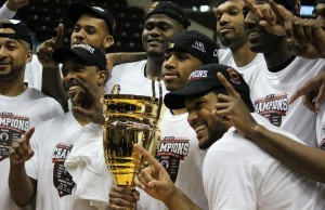 The Windsor Express celebrate their NBL Canada championship. April 17, 2014.