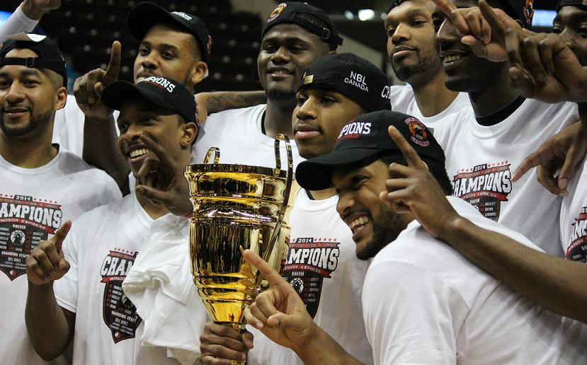The Windsor Express celebrate their NBL Canada championship. April 17, 2014. (Photo by Mike Vlasveld)