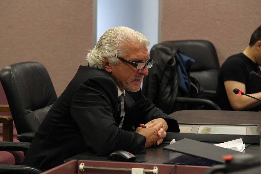 Municipal Affairs reporter Gino Conte speaks at Windsor City Council after receiving a key to the city in honour of his retirement.