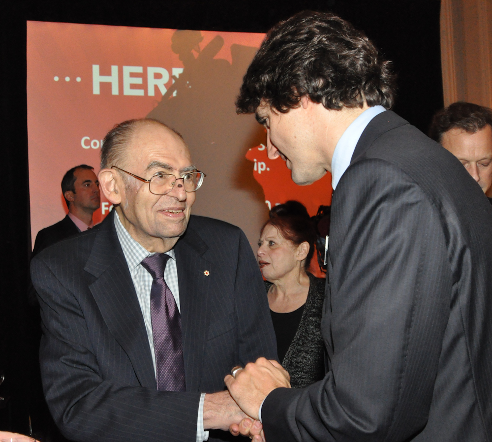 Former Windsor area MP and Deputy Prime Minister Herb Gray (L) with federal Liberal leader Justin Trudeau. (Photo courtesy Cynthia Munster via ipolitics.com)
