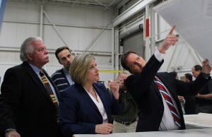 NDP Windsor-Tecumseh MP Percy Hatfield and NDP Leader Andrea Horwath tour the Unconquered Sun facility in Tecumseh with CEO Sean Moore.