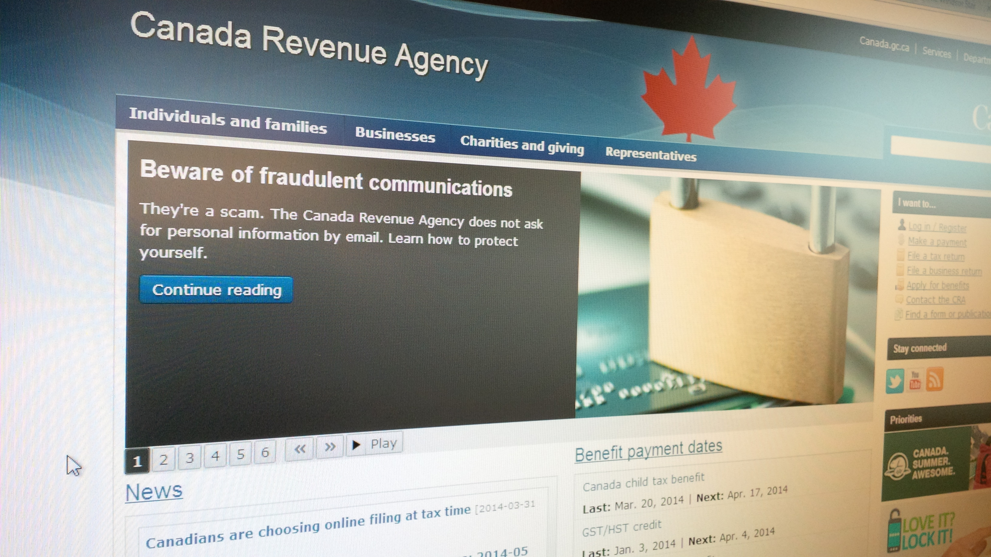 The Canada Revenue Agency website warns of fraud (BlackburnNews.com file photo)