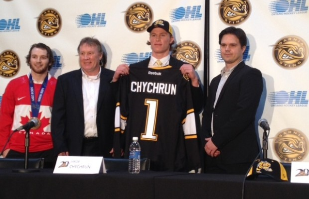 Sarnia Sting selects Jakob Chychrun with the first pick in the OHL Draft (Fri, Apr.4/14) BlackburnNews.com (Photo by Josh Boyce)