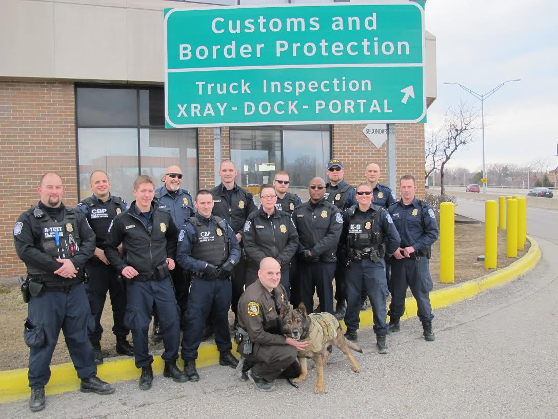 U.S. Customs and Border Protection officers raise money for vest for K-9 Fist. April 1,2014. Photo courtesy of St. Clair County Sheriff's