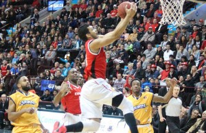 The Windsor Express battle the Island Storm in game seven of the NBL Canada finals. April 17, 2014.