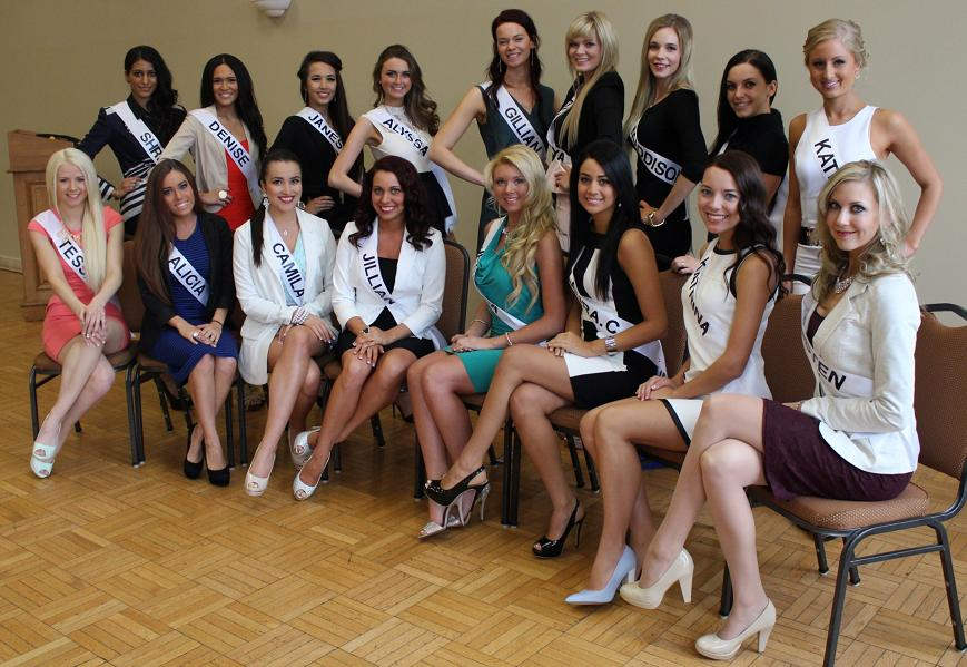Miss Universe Canada hopefuls prepare for interviews with judges of a qualifier pageant held at the Capitol Theatre in Windsor, April 2014. (Photo by Mike Vlasveld)