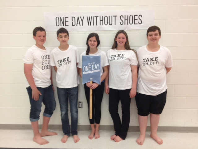 Queen Elizabeth II students in Petrolia participate in One Day Without Shoes movement. April 29, 2014 BlackburnNews.com (Photo by Chelsea Vella)