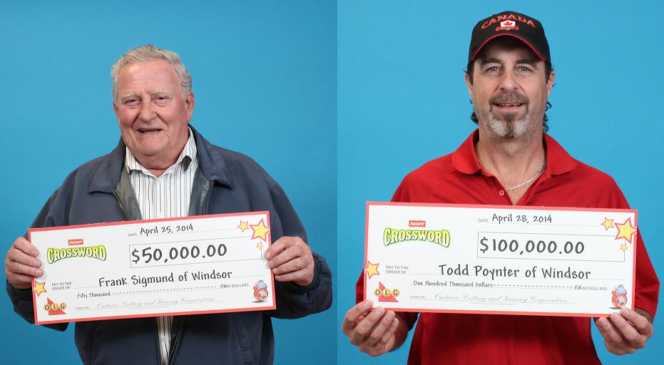 Frank Sigmund (left) and Todd Poynter (right) are the latest OLG winners from Windsor, April 29, 2014. (Photo provided by OLG)