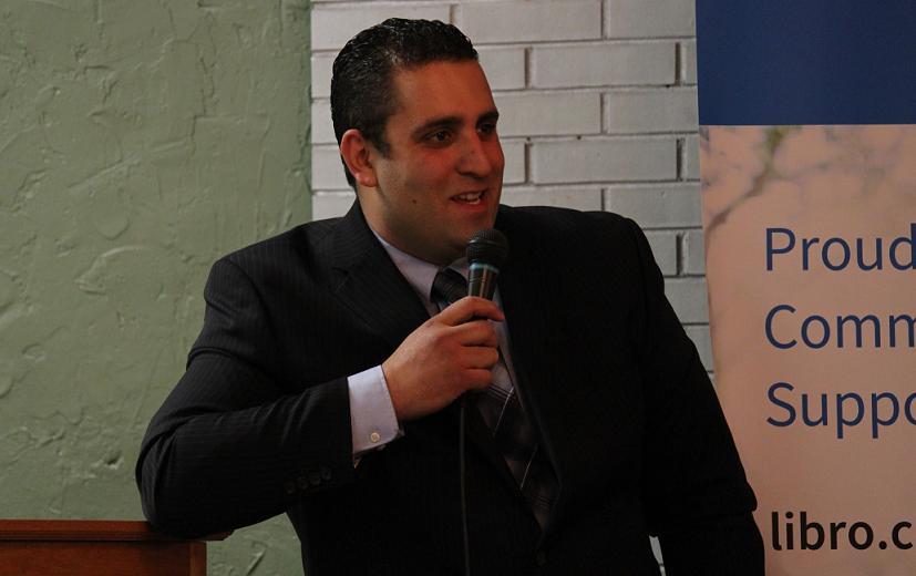 Highbury Canco Corporation President Sam Diab speaks at the Leamington Chamber of Commerce AGM, April 30, 2014. (Photo by Mike Vlasveld)