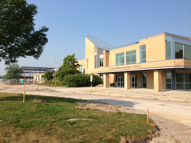 BlackburnNews.com file photo of construction at the new St. Patrick's Catholic High School in Sarnia.
