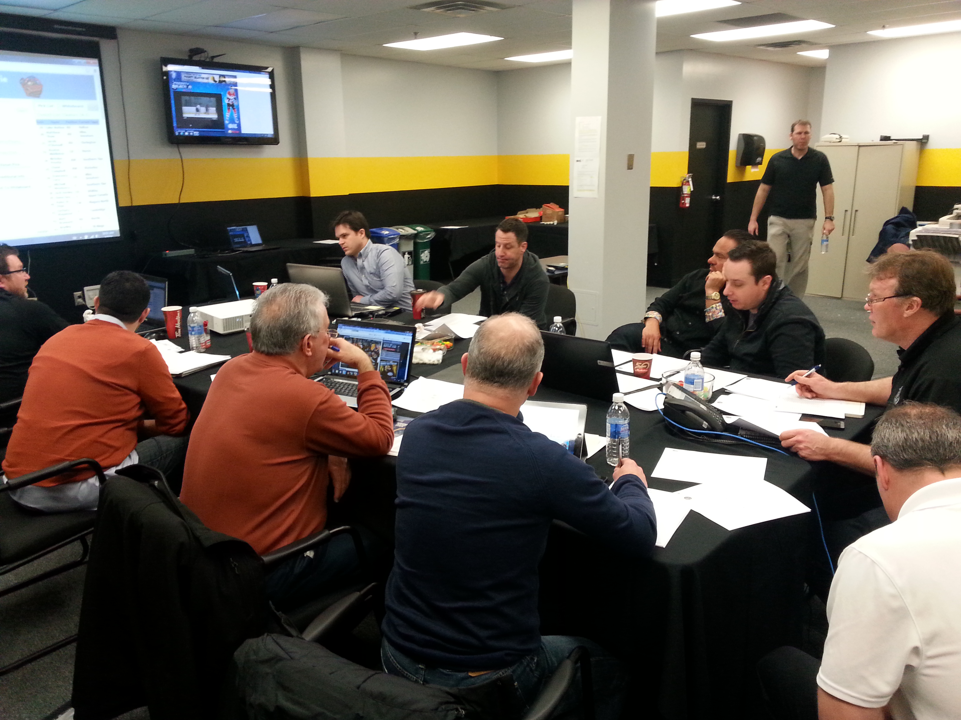 Sarnia Sting Draft Room, 2014 OHL Priority Selection, Apr. 5, 2014 (BlackburnNews.Com Photo taken by Josh Boyce)