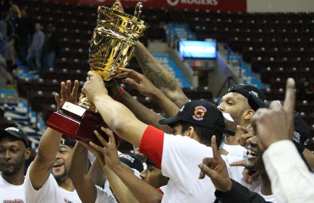 The Windsor Express celebrate their first championship in franchise history, April 17, 2014.