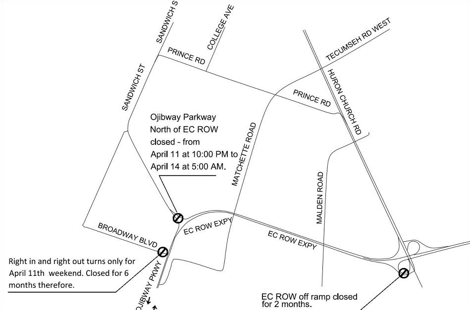 ojibway pkwy., e.c. row pkwy., rt.hon. herb gray pkwy., construction, traffic, windsor, lasalle, essex county, roads