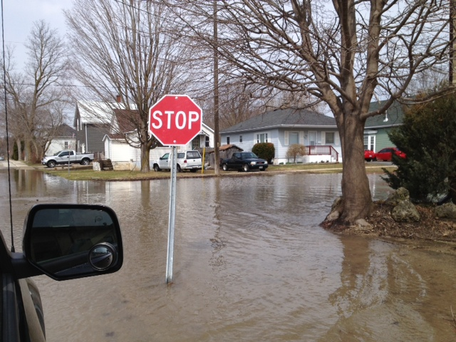 The streets of north Walkerton experienced flooding on April 13, 2014. (Photo by Dave Dentinger)
