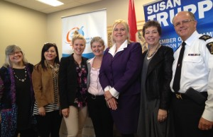 (from left to right) Saundra-Lynn Coulter, Project Coordinator Natasha Falle, LAWC Board Director Stephanie Bates, Megan Walker, MP Susan Truppe, LABC co-founcer Corina Morrison and Police Chief Brad Duncan.