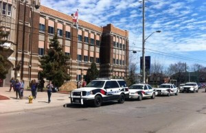 Police attend Walkerville Collegiate Institute, April 24, 2014. (Photo by Maureen Revait).