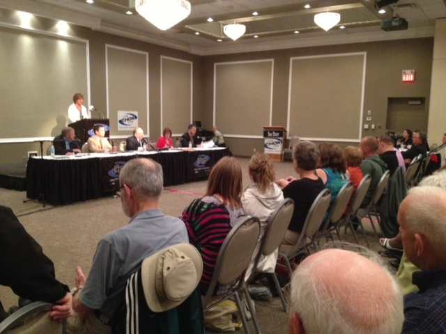 """Over 100 people attended CHOK's """"live"""" all candidates meeting for those representing Sarnia-Lambton Riding. May 27, 2014 BlackburnNews.com (Photo by Dave Dentinger)"""
