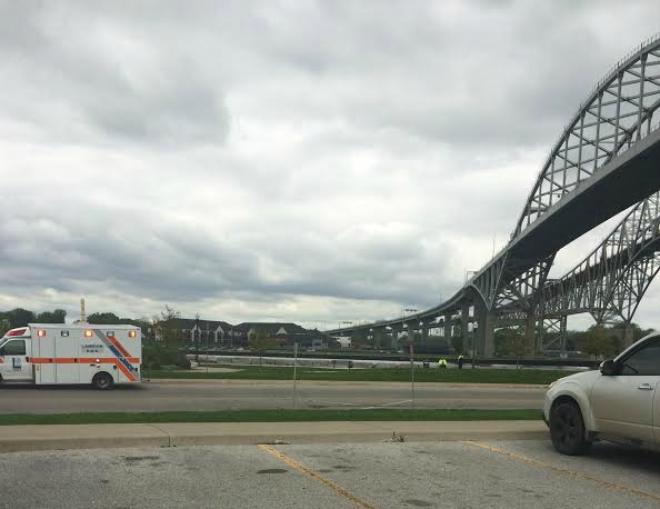 Various agencies search for a person believed to have jumped from the Blue Water Bridge. May 22, 2014 BlackburnNews.com Photo