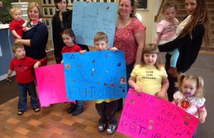 Supporters of Coronation Day Park Nursery gather at Lambton County headquarters in Wyoming. May 8, 2014 BlackburnNews.com (Photo by Melanie Irwin)