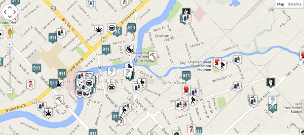 A sample of the CrimePlot software. The map shows police calls for service in specific areas across Chatham-Kent.