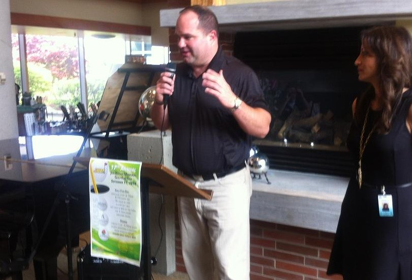 Dan Hogan speaks to a crowd at the Windsor Regional Hospital Cancer Centre