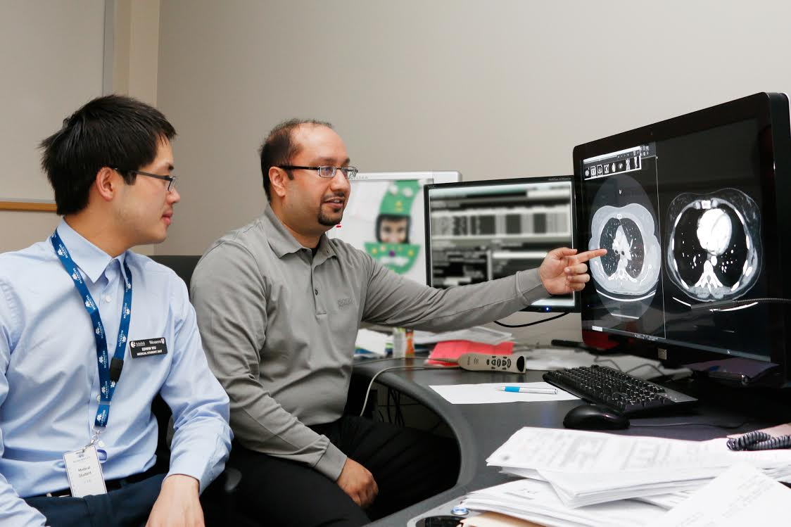 Dr. Rishi Duggal and first year medical student Edwin Wu in the Diagnostic Imaging Department at Bluewater Health in Sarnia. Photo submitted.