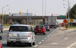 Huron Church Rd. leading up to the EC Row Exwy. Eastbound on-ramp.