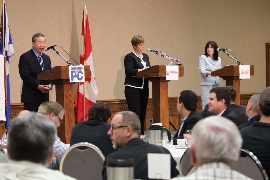Representing the Windsor-West riding PC Candidate Henry Lau, incumbent Liberal Candidate Teresa Piruzza and NDP candidate Lisa Gretzky