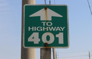 Hwy. 401 sign along Huron Church Rd. in Windsor.