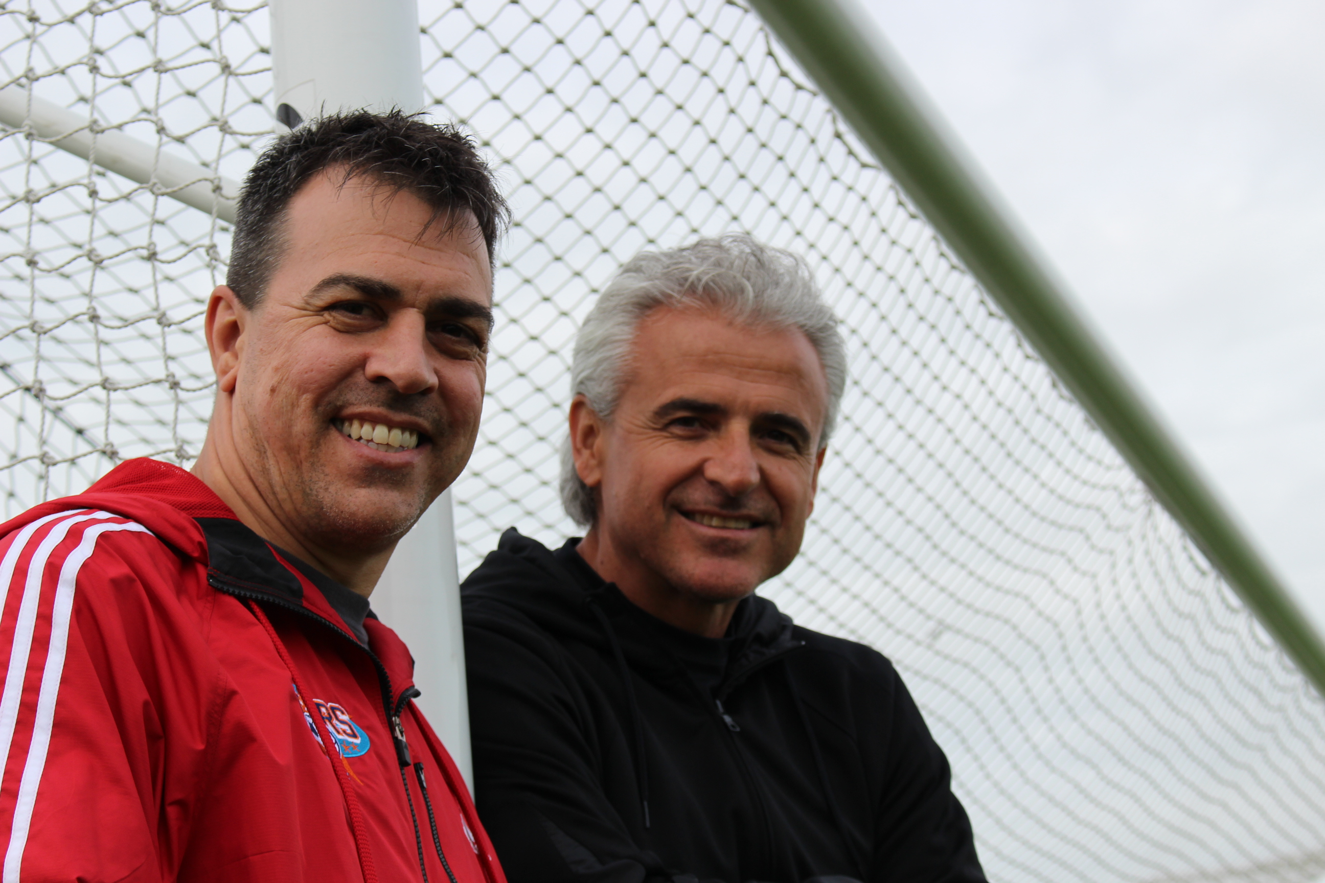Windsor Stars coach Steve Vagnini (L) and Director Vancho Cirovski at the McHugh soccer complex in Windsor on May 28, 2014. (Photo by Ricardo Veneza)