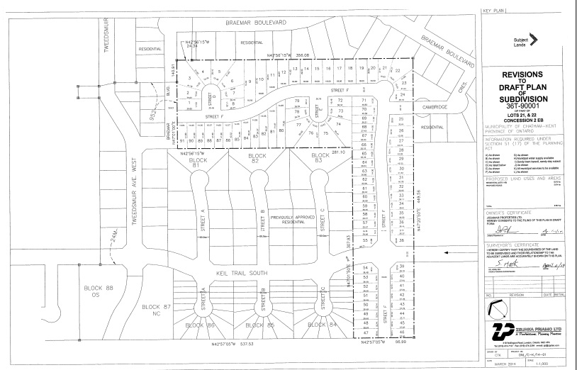 Amended draft plan of subdivion along Keil Dr. extension.